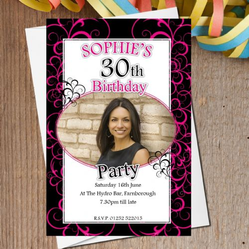 10 Personalised Hot Pink Swirls Birthday Party PHOTO Invitations N164
